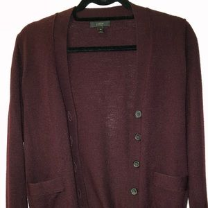 J.Crew Maroon Women's Merino Wool Sweater Cardigan